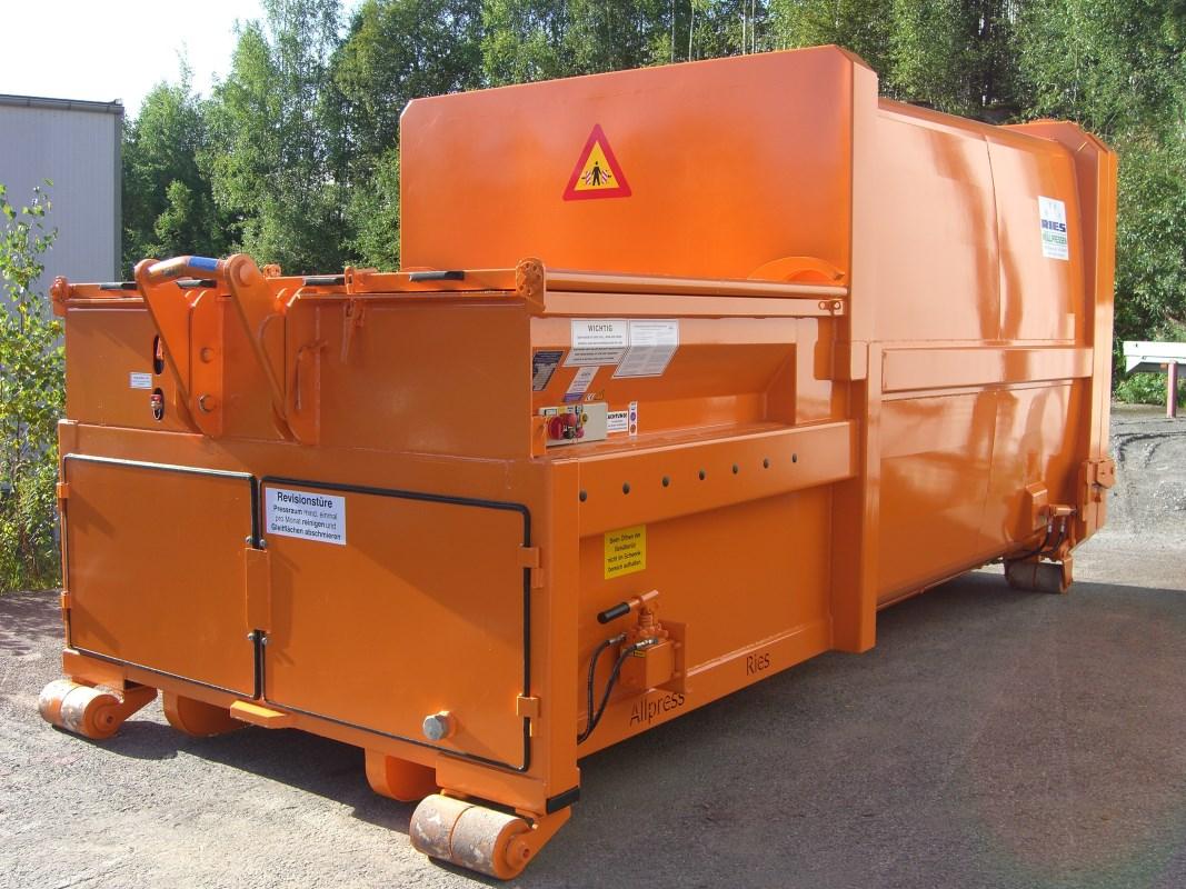Mobile Abfallpresse für Abrollkipper Typ SP 120 x5, wahlweise von 16 bis 24 m³ Nutzinhalt